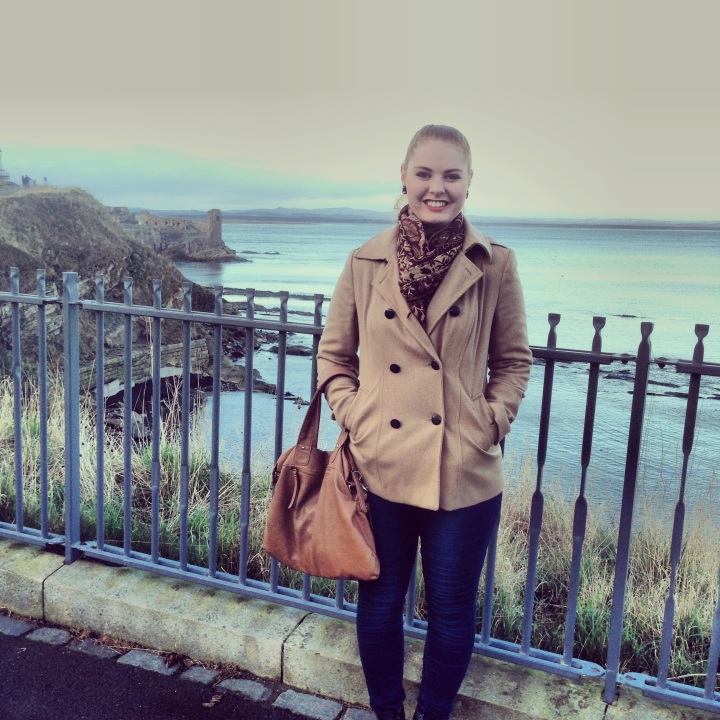 My favourite Oasis coat, jeans and Docs - Saint Andrews, Scotland