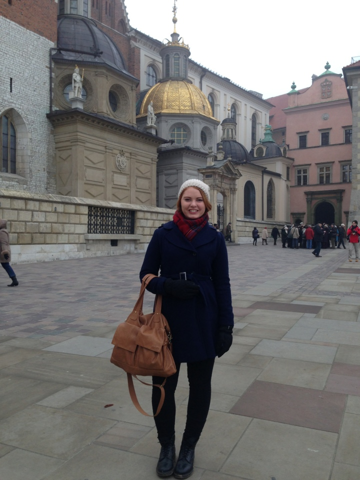 My other gorgeous Forever New coat, jeans, Docs, favourite scarf and beanie that I wore everywhere! - Krakow, Poland