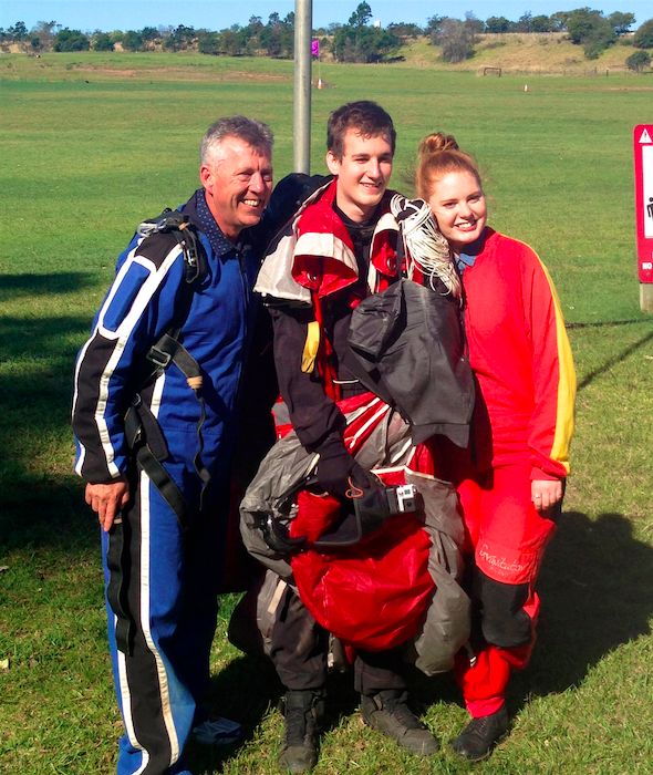 Dad, me and the pro, Charles after our jump!