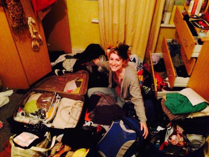 My best friend trying to pack all of her stuff. Proved to be challenging yet possible.