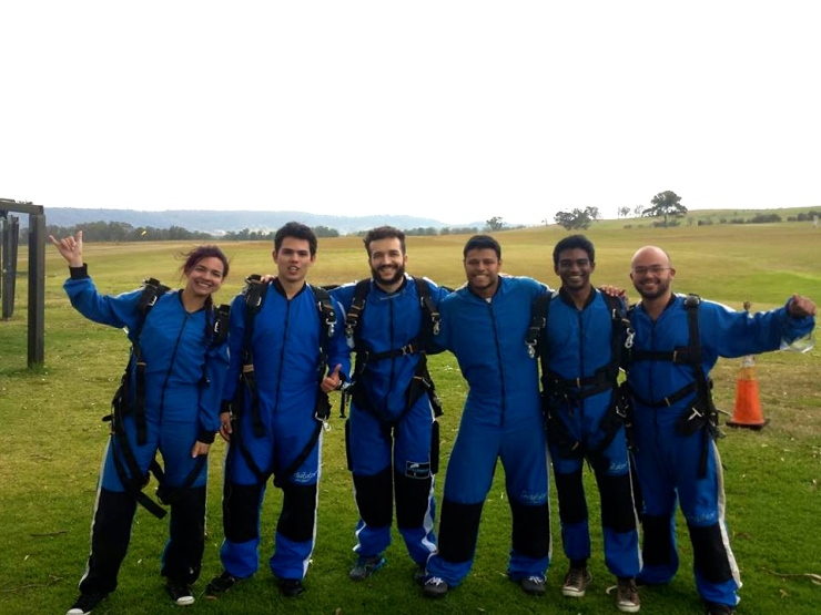 Some students after they landed!