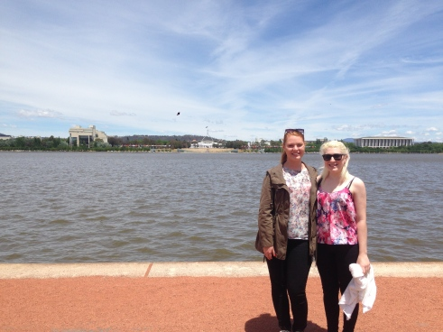Jess and I checking out Lake Burley Griffin and views to Parliament House