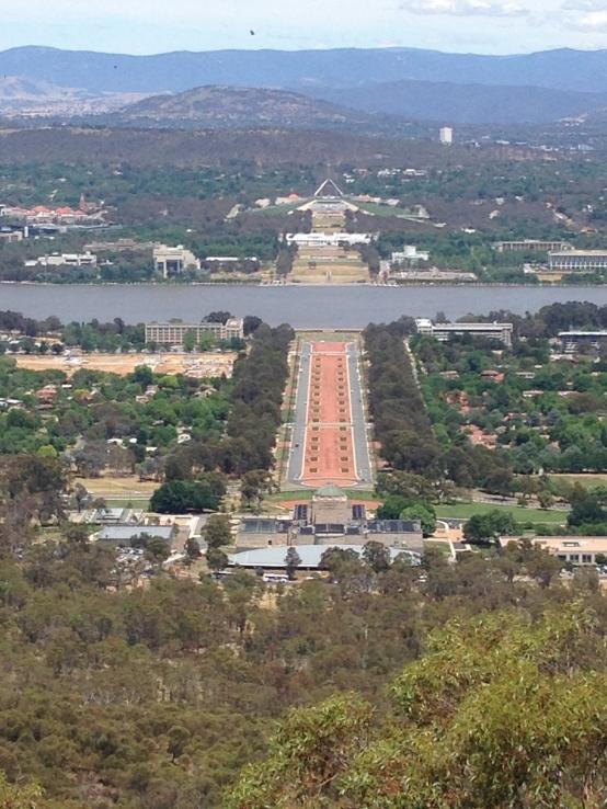 War Memorial-Parliament House, view from Mount Ainslie