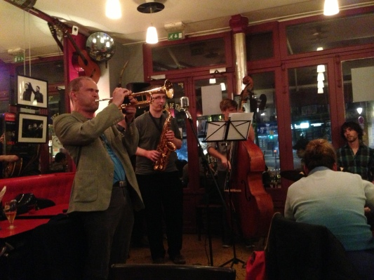 A Jazz band I saw at a Brasserie. The guy playing the trumpet kept taking swigs of something from his flask. Very entertaining!