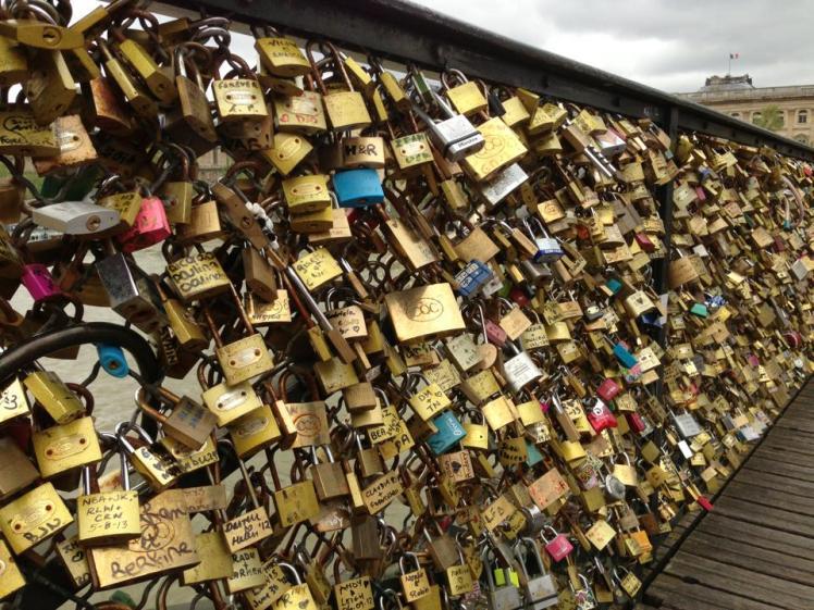 Pont des Arts, the love lock  bridge in Paris