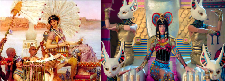 Left: Egyptian woman painted by the Victorians Right: Katy Perry channeling Egyptian woman