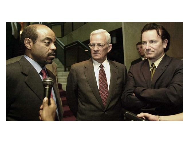 Left to right: Prime Minsiter of Ethiopia, Meles Zenawi,  US Treasury Secretary Paul O'Neil and Bono.