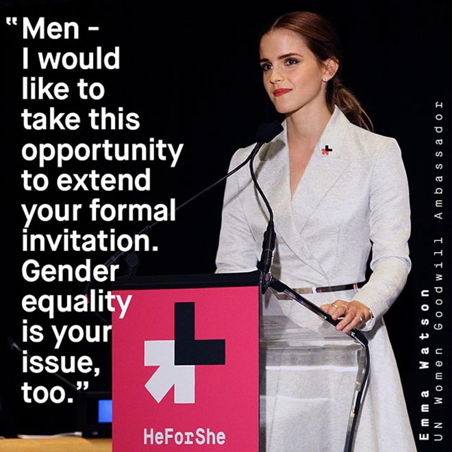 Emma Watson delivering her speech at the launch of the He For She Campaign. Source