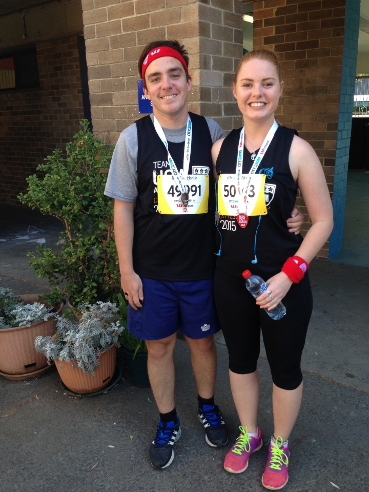 Liam and I finished the race