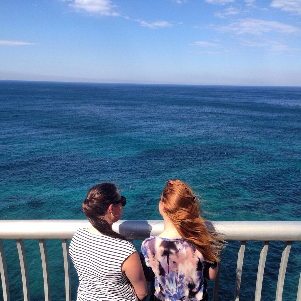 My sister and I on the Sea Cliff bridge
