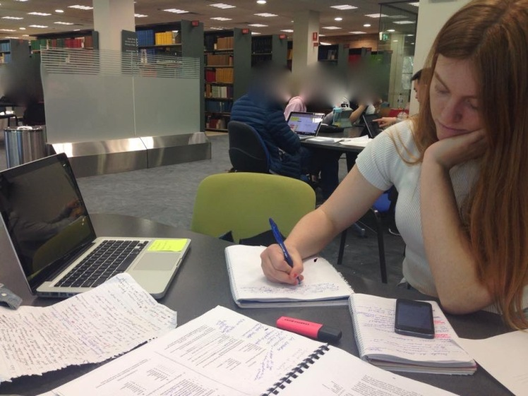 My friend Zina studying at the library
