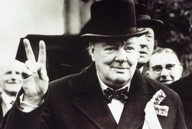 Winston Churchill peacing out. Source