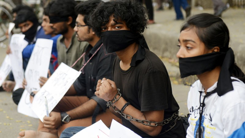 Bangladeshi activists protesting against the vicious murders of bloggers. Source
